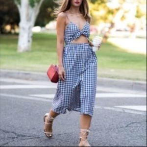 Zara Woman Blue and White Gingham Cutout Dress